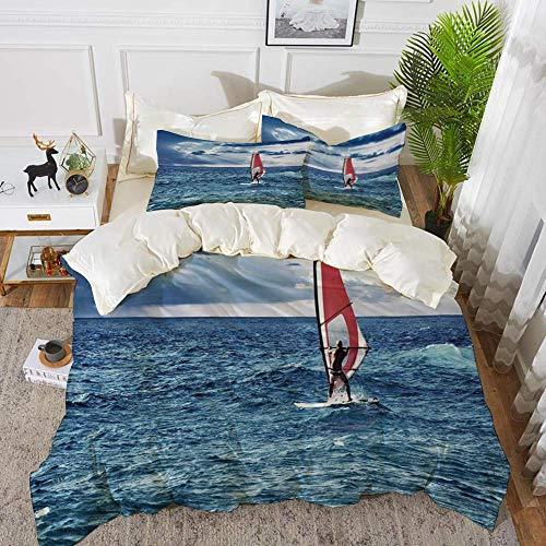 ropa de cama - Funda nórdica, Ride The Wave, Windsurfer in the Sea Exotic Adventure Happy Summer Beach Challenge Pictu, Funda nórdica de microfibra hipoalergénica con 2 fundas de almohada de 50 X 75 c