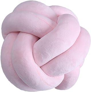 boogift Cojín de peluche, cojín nudo, cojín para la cabeza, incluye relleno, cojín nórdico, pequeño decorativo, cama de bebé, decoración de juguete, redondo, 25 x 25 cm (rosa)