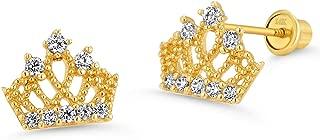 14k Yellow Gold Princess Crown Cubic Zirconia Children Screwback Baby Girls Stud Earrings