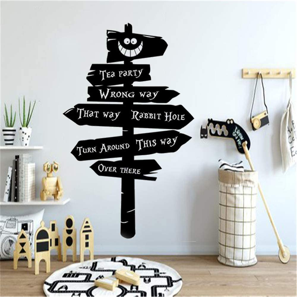 Amazon Com Tea Party Gift Rabbit Hole Nursery Wall Sticker Alice In Wonderland Road Sign Decor Home Decoration Beauty Bedroom Poster Mural Home Kitchen