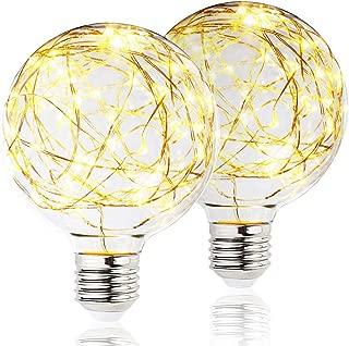 2 Pack BlueX LED Globe Fairy Light Bulb for Ambient Night Lighting, E26 Base, Edison Starry Decorative Vintage Filament String Light Bulb, for Bathroom, Bedroom & Living Room, Warm White