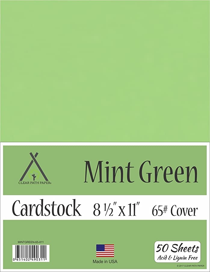 Mint Green Cardstock - 8.5 x 11 inch - 65Lb Cover - 50 Sheets