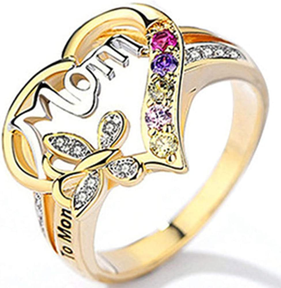 Jude Jewelers 18K Gold Plated Mom Mother's Day Butterfly Style Ring