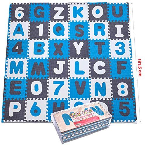 Puzzlematte XXL mit 110 Teilen für Kinder aus rutschfestem EVA - 3,3m² große Spielmatte, zusammensteckbar inkl. Rand-Teile 30 x 30 x 1 cm - Kinderteppich, Puzzle mit Zahlen und Buchstaben inkl. Tasche