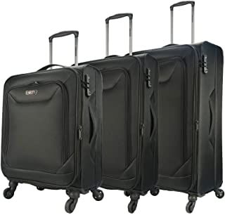 Eaglemate 3pc Luggage Set Suitcase Trolley Carry On Soft Lightweight Luggage Set (Black)