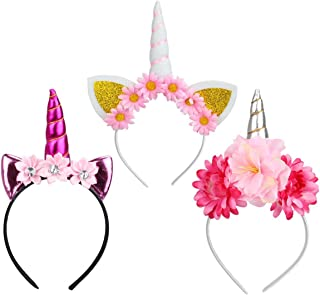 Sungpunet Unicorn Horn Hair Hoop Girls Flower Ears Headband Cosplay Party Headwear