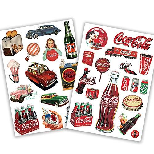 Ligoi Adhesivo retro de Coca-Cola para maleta, maleta con ruedas, impermeable, para computadora o guitarra