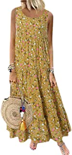 H&E - Maxi abito da donna in stile bohémien, con stampa estiva, senza maniche, da spiaggia