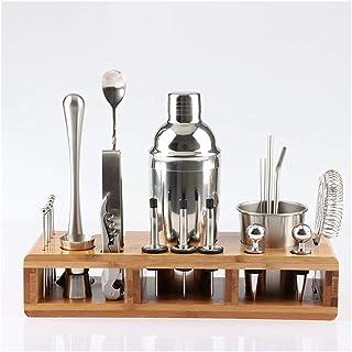 Scra AC Cocktail Shaker Set, roestvrijstalen cocktail set Barware met vierkante houten rack voor barman drankje party bar ...