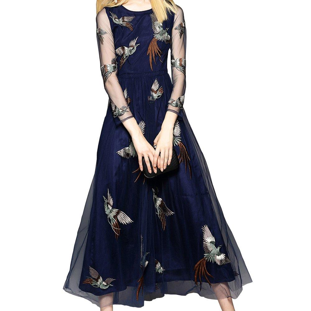 PINGORA 2019 新款女装欧美风格优雅修身显瘦刺绣蕾丝长款连衣裙长裙礼服正装