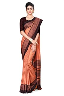 805458d54b Uniform Sarees Women's Poly cotton saree with blouse piece(D.No-455/