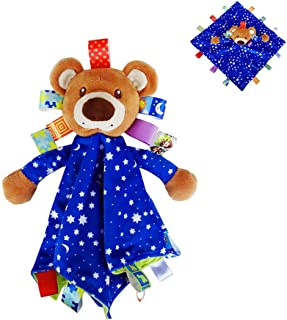 INCHNAT Kids Plush Taggies Security Blanket - Bear Tag Plush Toy Built-in Bell,  Colorful Taggy Blankets Best Gift for Baby Boys and Girls