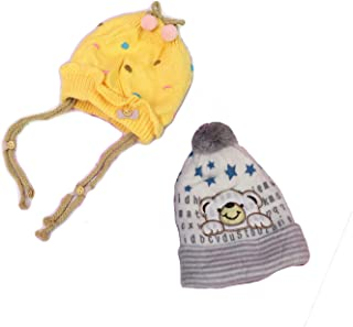 GRAPPLE DEALS Multicolour Woollen Cap for Babys (Age 1 to 2 Year) Combo of 2 Pieces