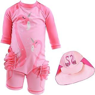 Swimsuit for Girls Flamingo Design Long Sleeve with Cap (UPF 50+) blocks 99% of UV Radiation