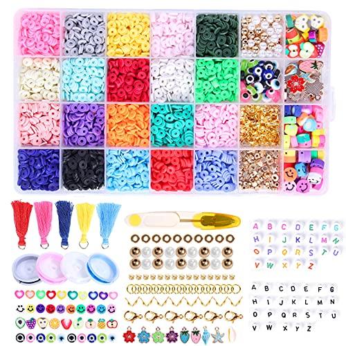 Da Quince - Lote de 4000 cuentas Heishi para pulseras de perlas planas y perlas espaciales, polímeras, joyas de teléfono, kit de fabricación para adultos