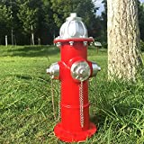 Dog Fire Hydrant Puppy Statue Puppy Pee Post Gift for Fireman, Fire Hydrant for Dog Full Color, Large Fire Hydrant Garden Décor Statue Dog's Second Best Friend (14')