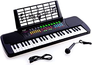 $32 » JUNELILY 49-Key Mid-Size Piano Keyboard for Kids   Beginner Set with Music Rest, Mini Mic, Power Adapter & 8 Demo Practice Songs to Learn (Black)