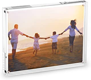 HESIN Tabletop Picture Frame 6 by 8 inch Double Sided Frameless Photo Frame Magnetic Acrylic Block Frame Desktop Photo Display Holder with Gift Box Package Thickness 12+12mm (6x8 inch)