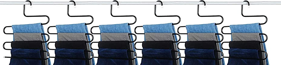 House of Quirk Stainless Steel S-Shape 5 Layers Trouser Pants Hanger Black(6)