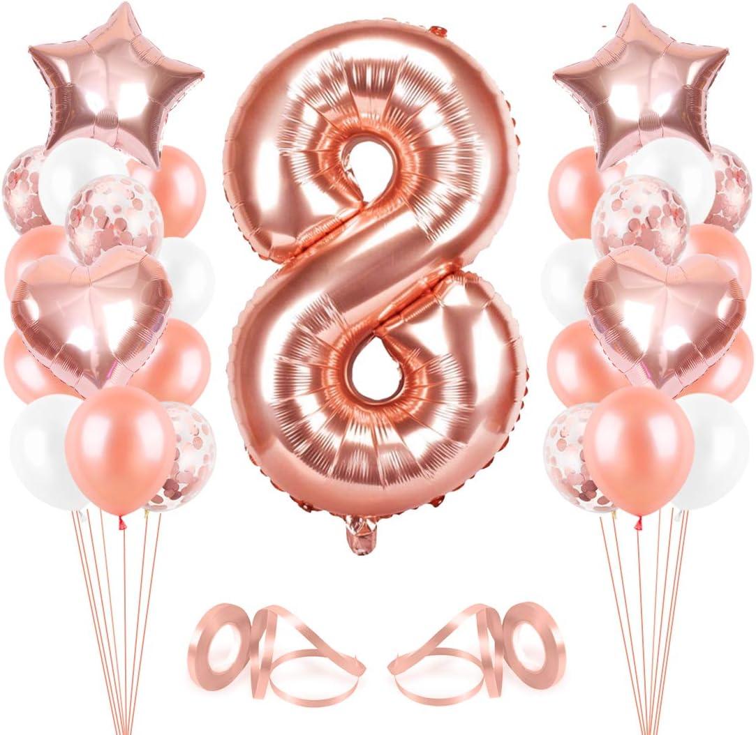 Bluelves Luftballon 8. Geburtstag Rosegold, Geburtstagsdeko Mädchen 8 Jahr,  Happy Birthday Folienballon, Deko 8 Geburtstag Mädchen, Riesen ...