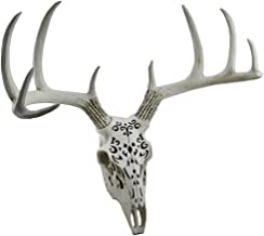 Zeckos Resin Statues Decorative Filigree Design Hanging Deer Skull Statue 17 Inch 19 X 17 X 13 Inches Off-White