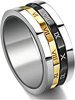 JAJAFOOK Gold Silver Black Spinning Stainless Steel Roman Numerals Mens Womens Ring