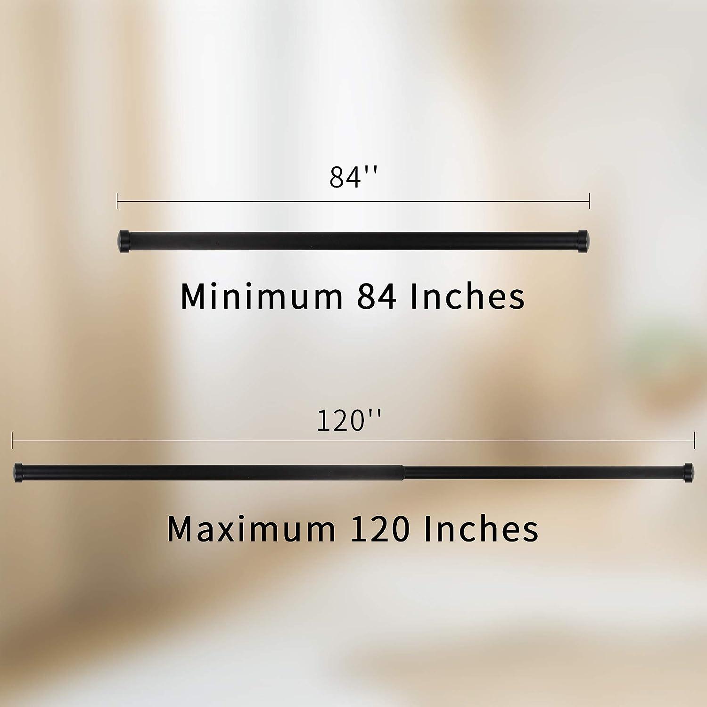 48 to 84-Inch TiMi Window Curtain Rod Decorative Adjustable Curtain Rods 1 Classic Caps Black