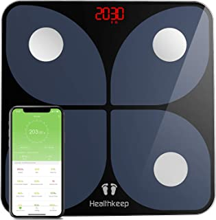 Body Fat Scale with iOS and Android App, Bluetooth Weight Digital Bathroom Scales BMI Body Composition Monitor, Samsung, IOS, Andriod System, 396 lbs in 0.2 lb increments, 2 x AAA batteries included