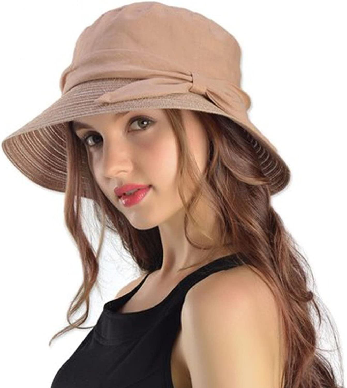 Fuodeau 100% Ramie Floppy Summer Hats for Women Wide Brim UV Hat Sun Visors Elegant Bowknot Casual Beach Sunhat