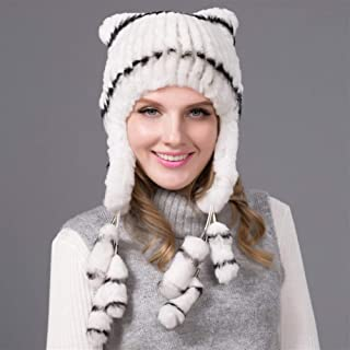 Guomao Women Winter Knitted Hat Rex Rabbit Fur Hat Wool Knitted Ear Protectors Ms. Rex Wool Knit Hat Integral Skin (Color : Gray)