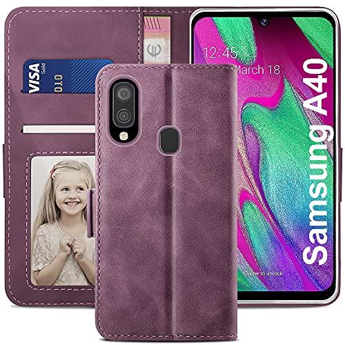 YATWIN Handyhülle Samsung Galaxy A40 Hülle, Klapphülle Samsung Galaxy A40 Premium Leder Brieftasche Schutzhülle [Kartenfach][Magnet][Stand] Handytasche für Samsung Galaxy A40 Hülle, Weinrot