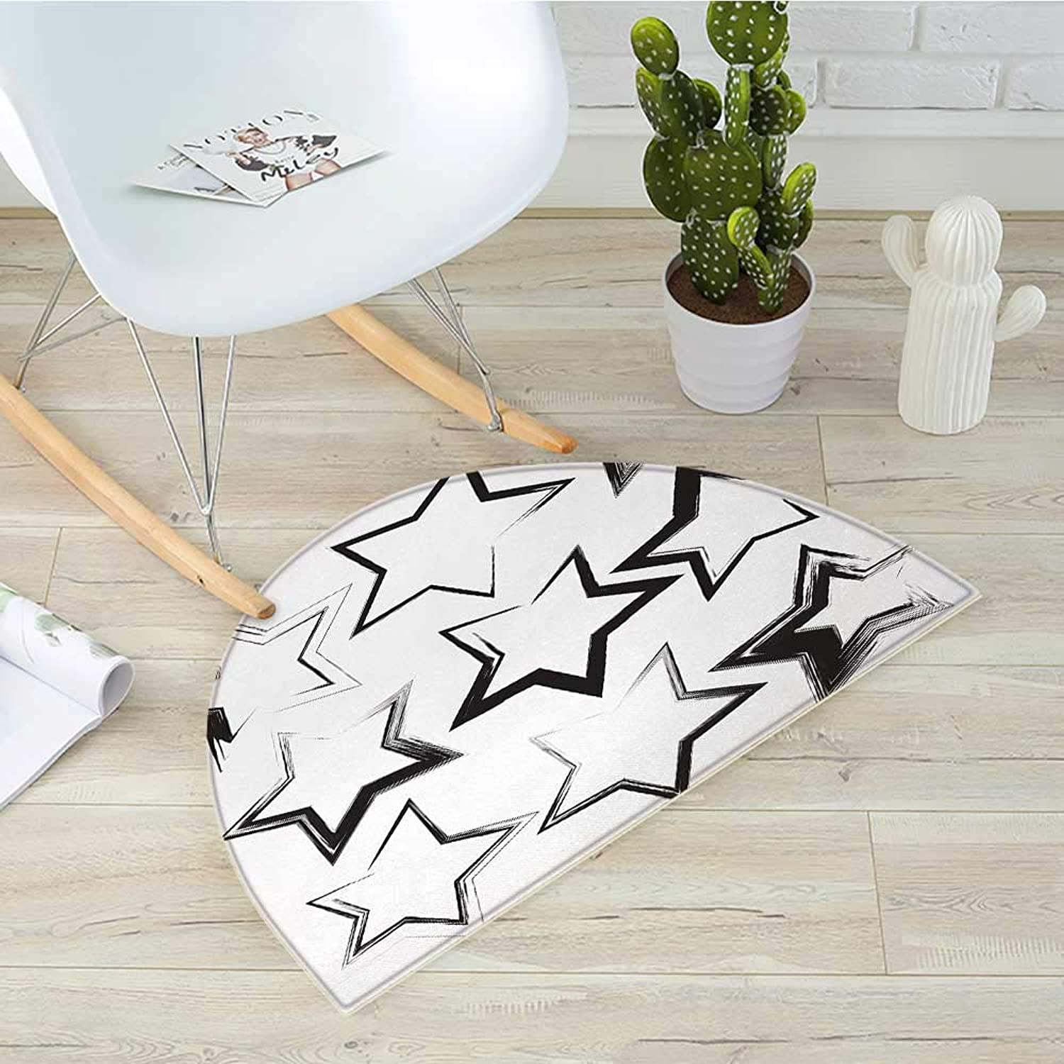 Grunge Half Round Door mats Grunge Star Brush Strokes with Different Borders and Angles Artisan Design Print Bathroom Mat H 31.5  xD 47.2  Charcoal Grey