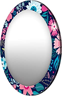 999Store Printed Colorful Flowers Pattern Round Mirror (MDF_17X17 Inch_Multi)