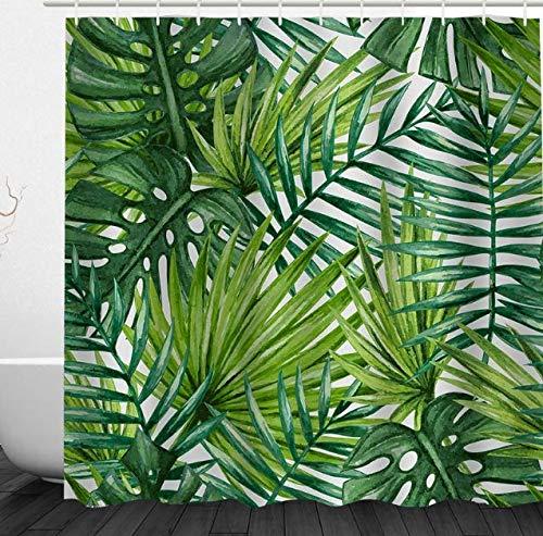 Alicemall Cortina de Ducha 3D Estamapado Verde Hojas Cortinas de Baño 180*180cm con 12 Ganchos Impermeable y Resistente al Moho