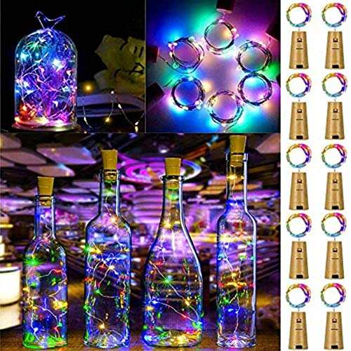 FANSIR Wine Bottle Lights with Cork, 10 Pack Battery Operated LED Cork Shape Silver Wire Fairy Mini String Lights for DIY, Party, Decor, Wedding Indoor Outdoor (Multi Color)