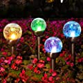 Solpex 3 Pcs Solar Garden Lights Outdoor, Color Changing & White Two LEDs, Decorative Ball Solar Lights for Patio/Lawn/Yard/Path/Landscape. (Crackled Glass)
