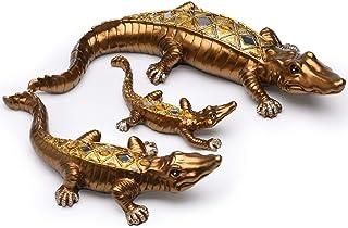 BRASSTAR Three Crocodile Statue Resin Golden Royal Alligator Family Animal Figurine Home Office Art Decorations Wealth Fen...