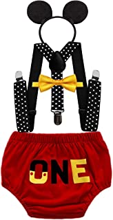 HIHCBF Baby Boys Mickey Outfits 1st Birthday Cake Smash Photo Shoot Costume Bloomers Suspenders Bow Tie Headband 4pcs Set