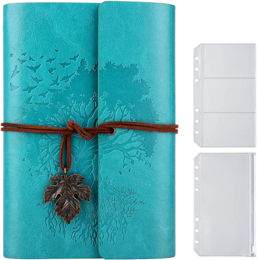 Diario de piel con páginas en blanco, estilo vintage, recargable, diario de piel, color rosso A6 18,5 x 13 cm (azul)