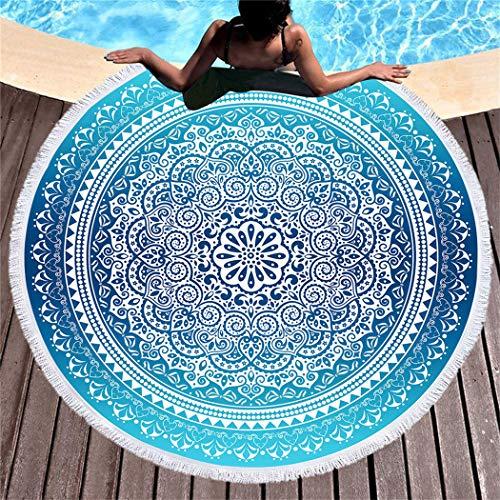 DXSX Estilo Bohemio Toalla de Playa Mantel Redondo de Microfibra con Flecos Mandala Tapiz Toallas de baño para Adultos y niños Absorción de Agua Prevención de Arena 150cm(Bohemia) (Bohemia #6)