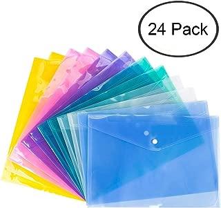 winkong 24枚 クリアファイル クリアーホルダー ファイル ケース ポケット付エンベロープ ヨコ型 半透明 カラフル 書類 資料 収納 バッグ カバン