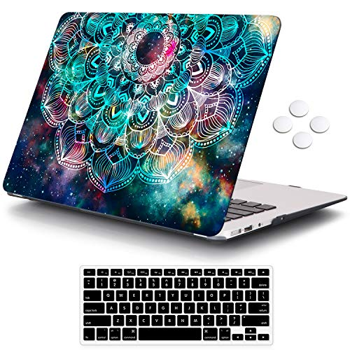 iCasso Compatible with MacBook Air 11 inch Case Model A1370/A1465, Ultra Slim Pattern Plastic Hard Shell Case Protective Cover MacBook Air 11'' with Keyboard Cover Screen Protector - Nebula Mandala