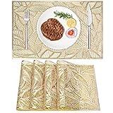 4er Set PVC Platzset, Abwaschbar Tischsets, rutschfeste Platzsets, Gold Tischsets, Platzdeckchen Gold für Weihnachten Party Küche Zuhause Speisetisch