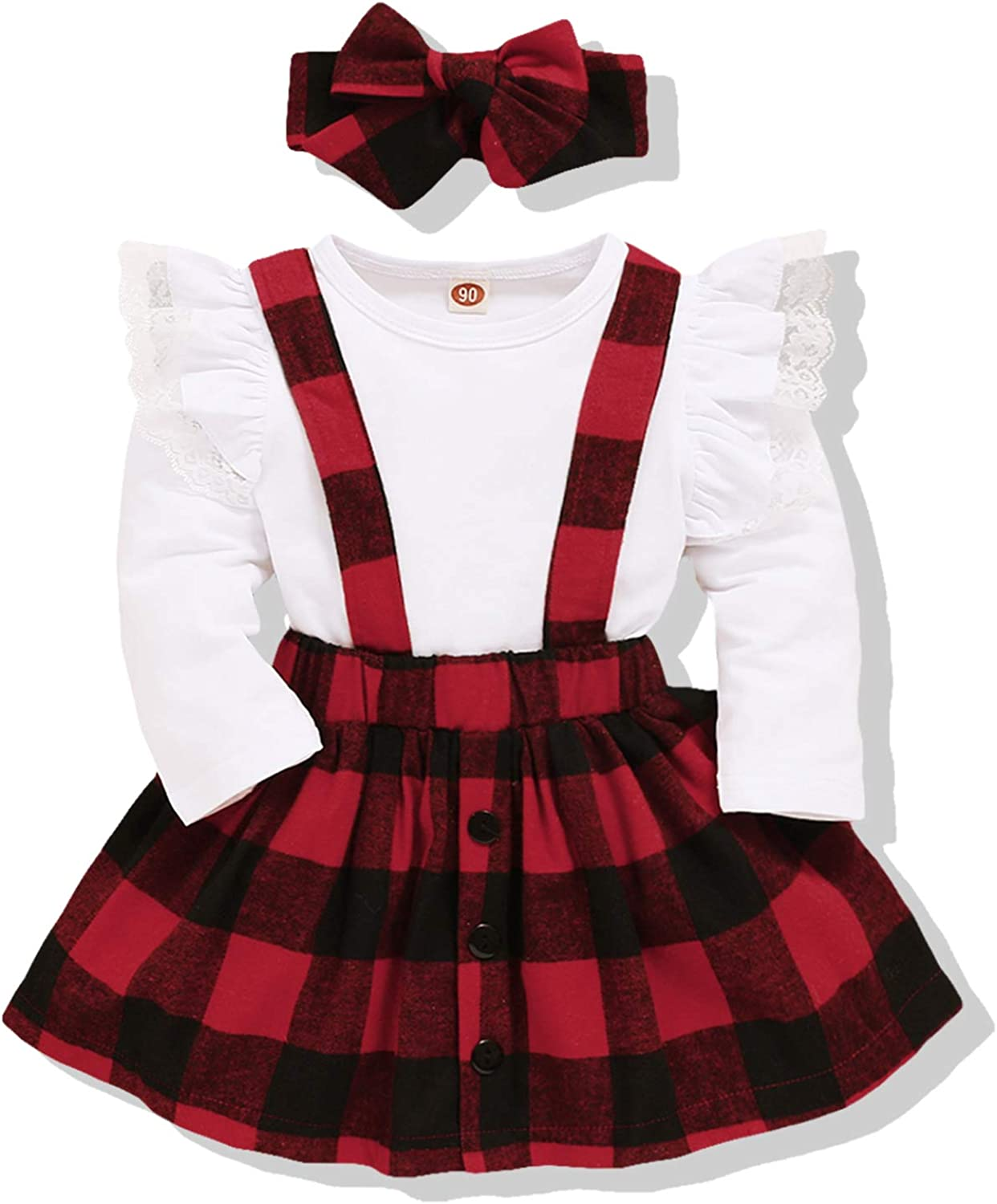Toddler Baby Girls Long Sleeve T-Shirt Tops + Plaid Suspender Skirt Outfits Set