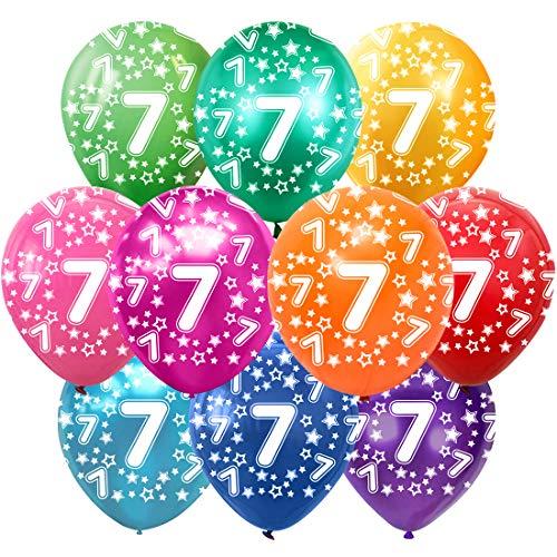 7 Cumpleaños Globos Decoracion Cumpleaños 7 Años Globos de látex, 30 cm, Colores Surtidos, Paquete de 30