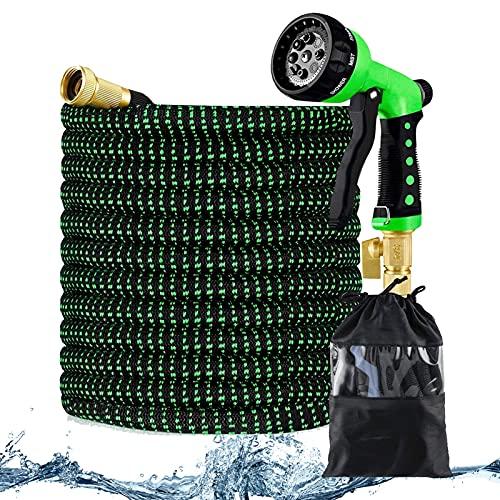 ZYSM Tubo da Giardino Espandibile Tubo per Irrigazione con Ugello A Spruzzo A 8 Funzioni Raccordi in Ottone Massiccio da 3 4  Espandibile Tubo Acqua Giardino,25ft