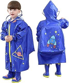 LOHOME Unisex Kids Raincoat - Children's Hooded Raincoat Teens Jacket Space Poncho with School Bag Cover Rainwear