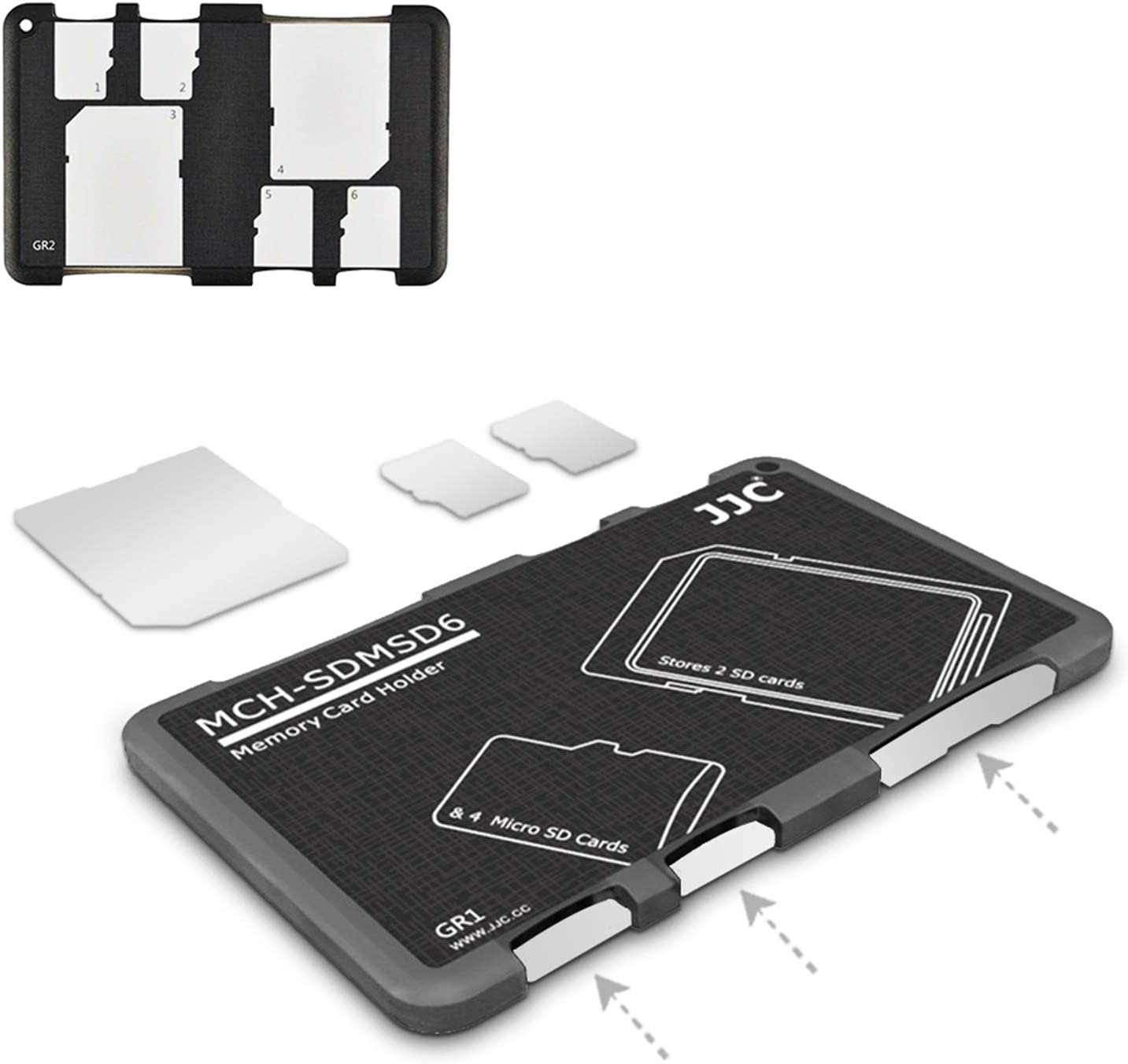 6 Slots SD Micro SD Card Case Storage Organizer, Lightweight Ultra-Thin Credit Card Size fit 2 SD SDHC SDXC Cards and 4 Micro SD TF MSD Cards