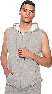 سويت شيرت قطن بسوستة وغطاء للرأس وجيوب جانبية بدون اكمام للرجال عمرو دياب من 34 - رمادي، XL