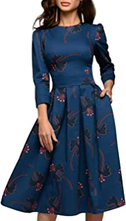 Women's Floral Evening Flare Vintage Midi Dress 3/4 Sleeve